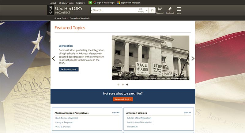 U.S. History In Context search topics