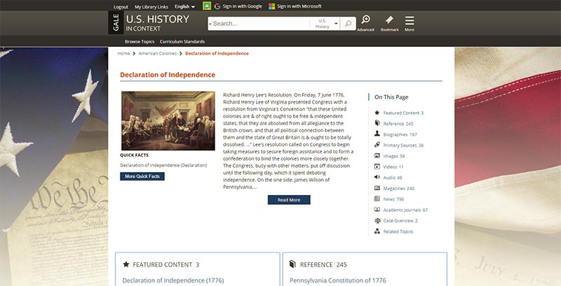 U.S. History In Context search topics by categories