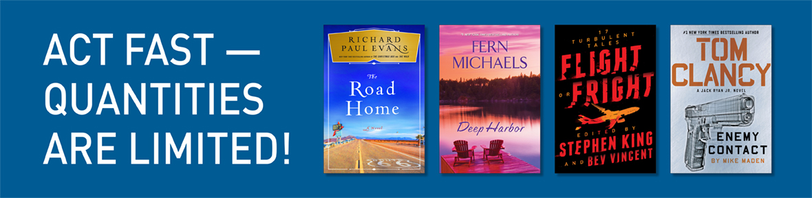 Blue banner with book covers