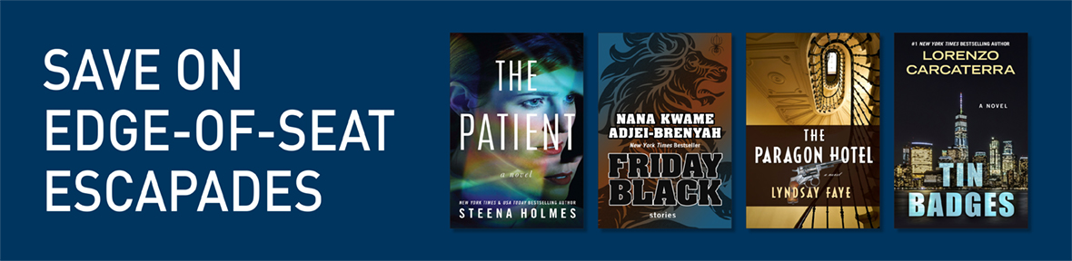 Dark blue banner with book covers