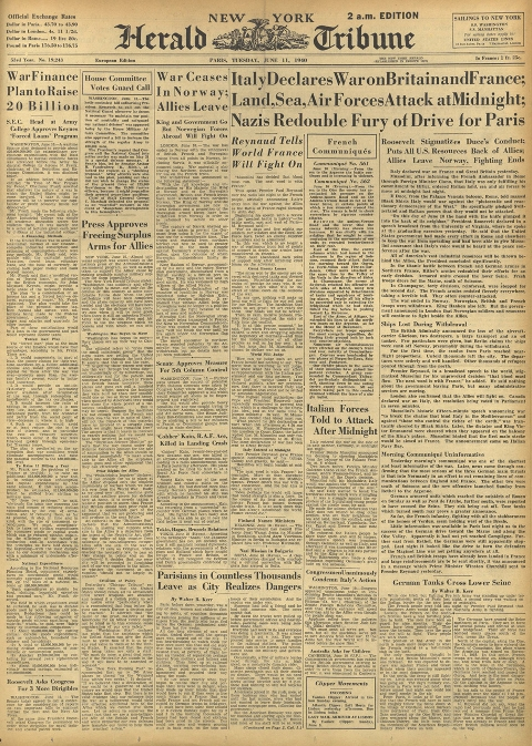 june 11 1940 front page of international herald tribune