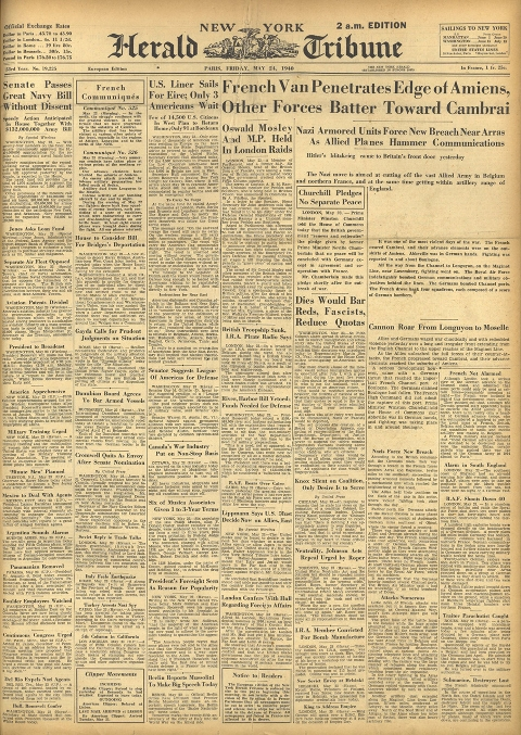 May 24, 1940 front page of international herald tribune
