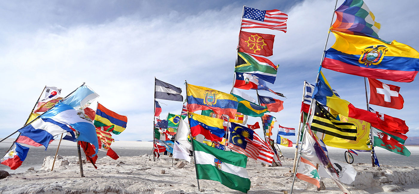 Multiple country flags blow in the windy desert