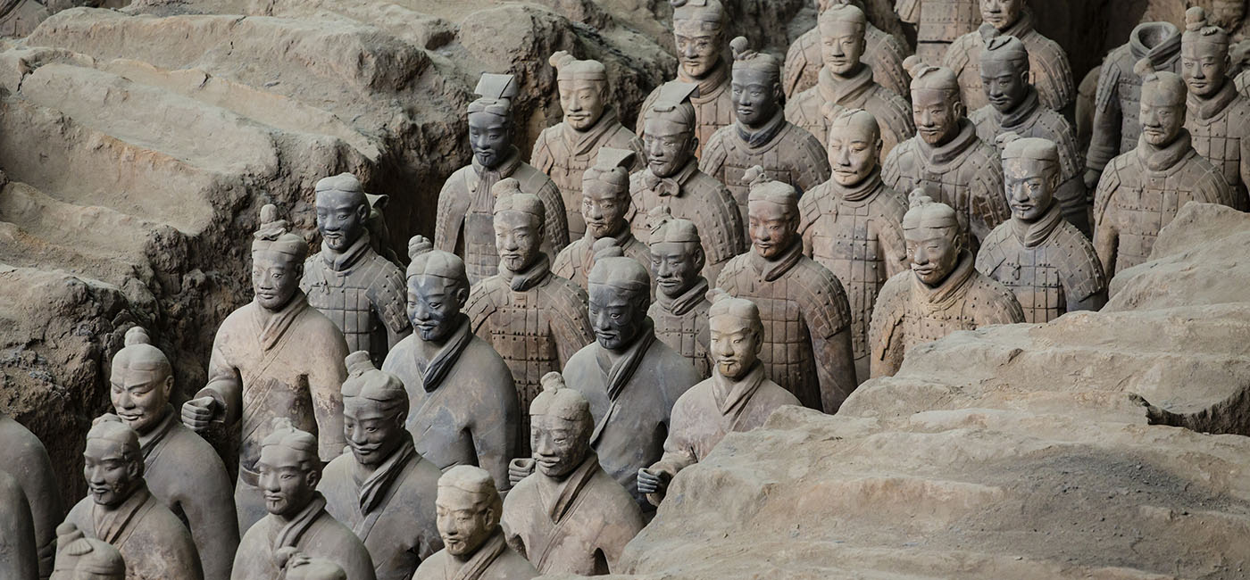 A photograph of sculptures of the Terracota Army of the first emperor of China
