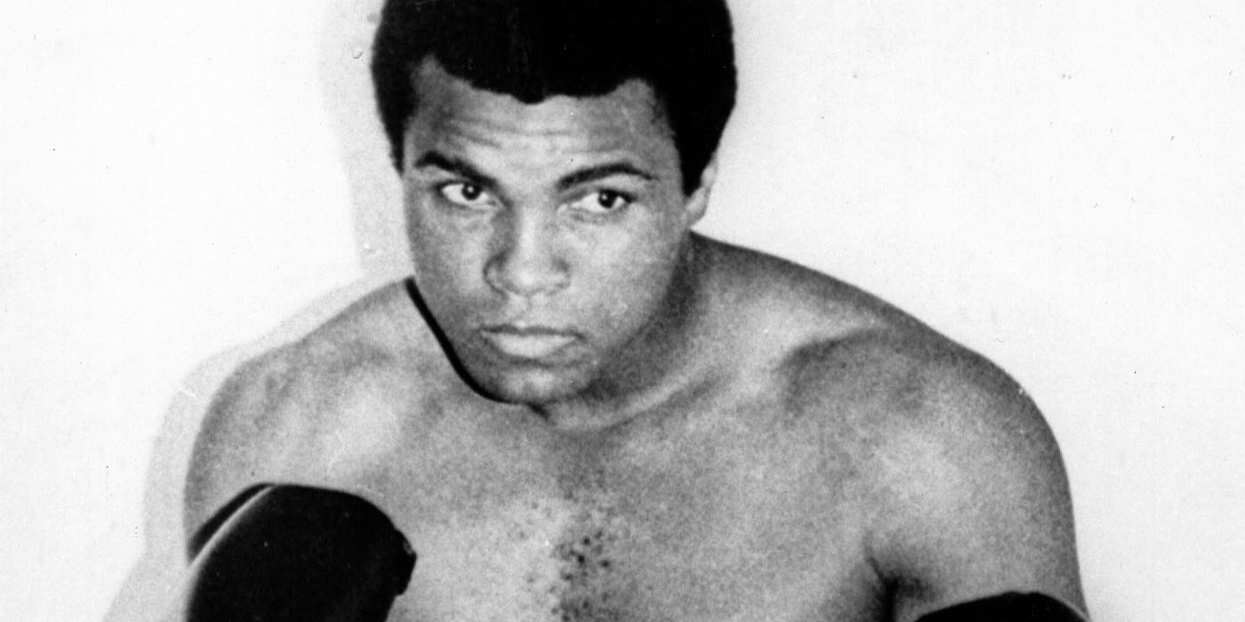 Undated photo (pre-1976) of boxing champion Muhammad Ali (Cassius Clay) in boxing outfit.