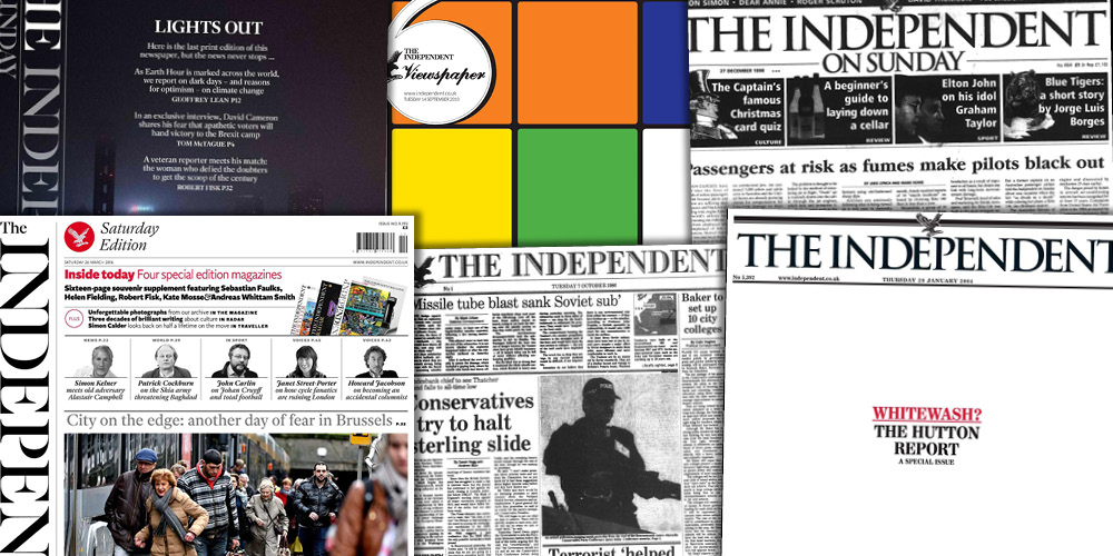 Various source media. The Independent Historical Archive 1986-2016