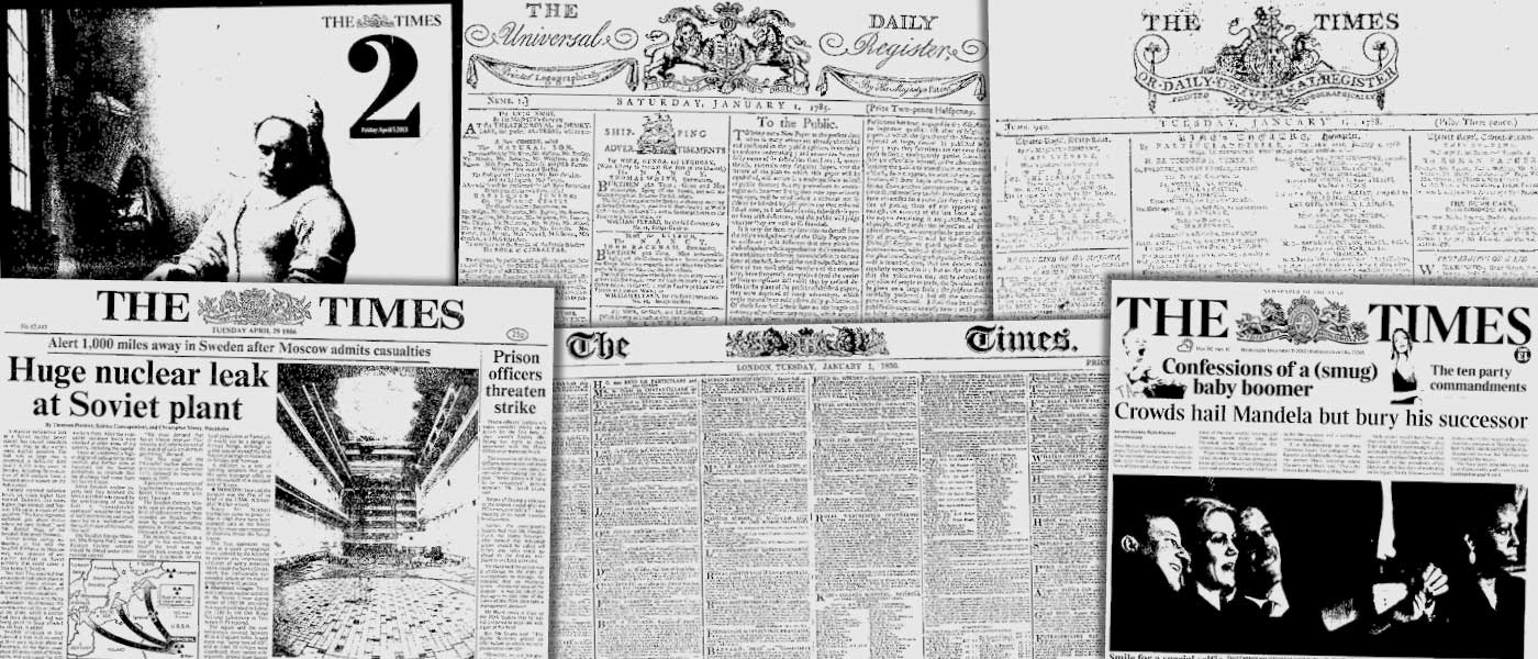 Various source media. The Times Digital Archive 1785-2014