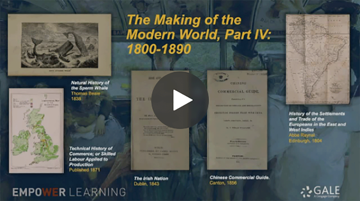 Gale Primary Sources Making of Modern World Homepage screen