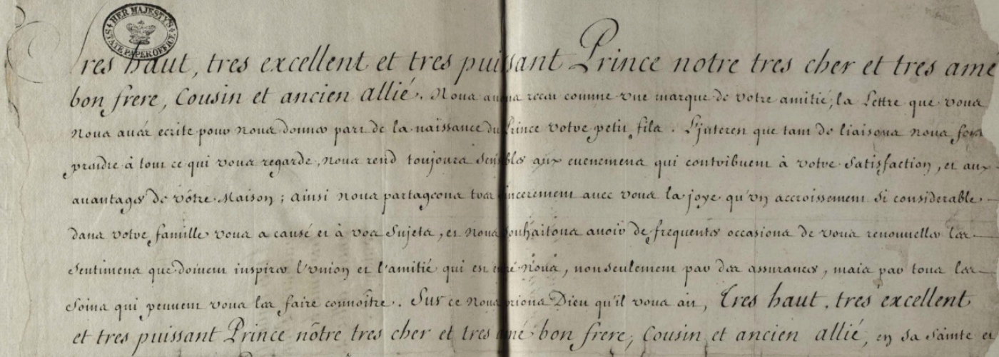 Letter from Louis XIV to George I on the occasion of his ascension at the death of Queen Anne.