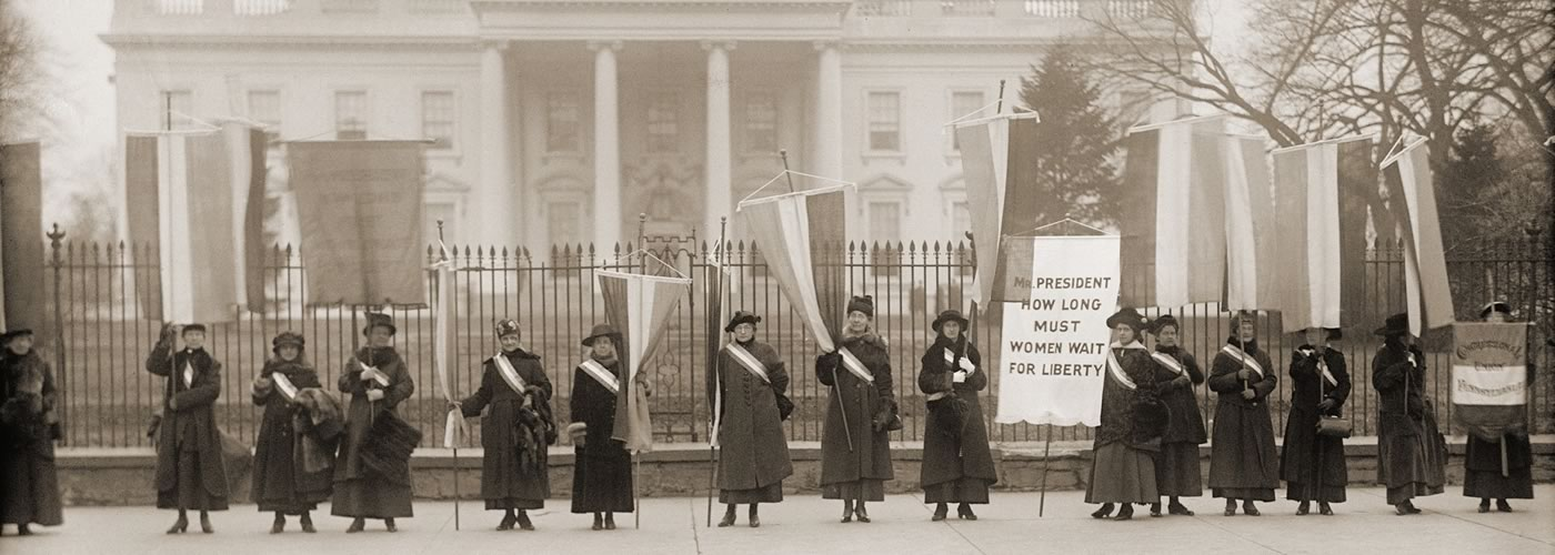 National Women's Party demonstration in front of the White House in 1917.