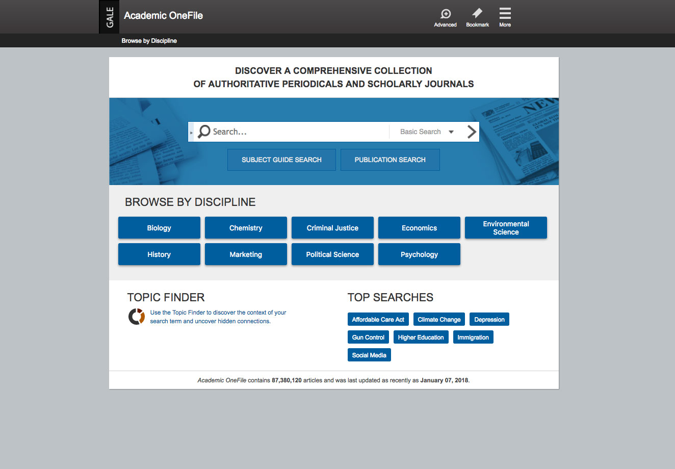 Academic Onefile Product Homepage