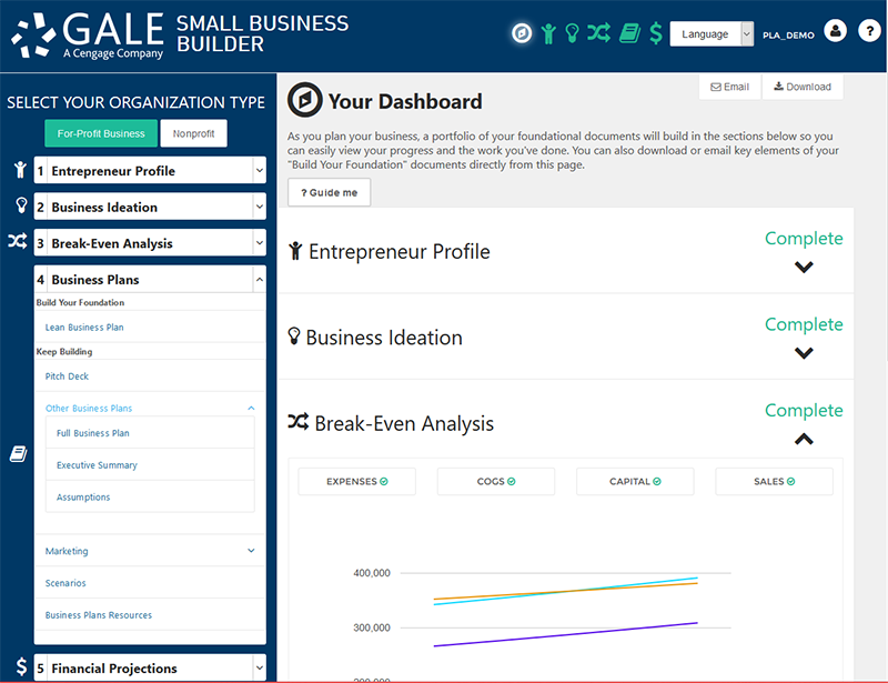 Gale Small Business Builder Intuitive Dashboard