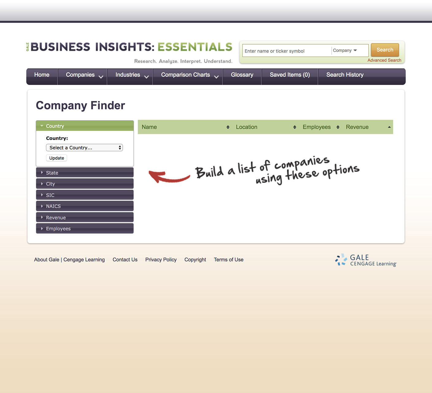 Business Insights Essential Company Search
