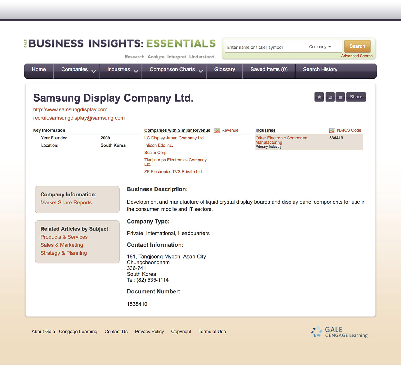 Business Insights Essential Company Information