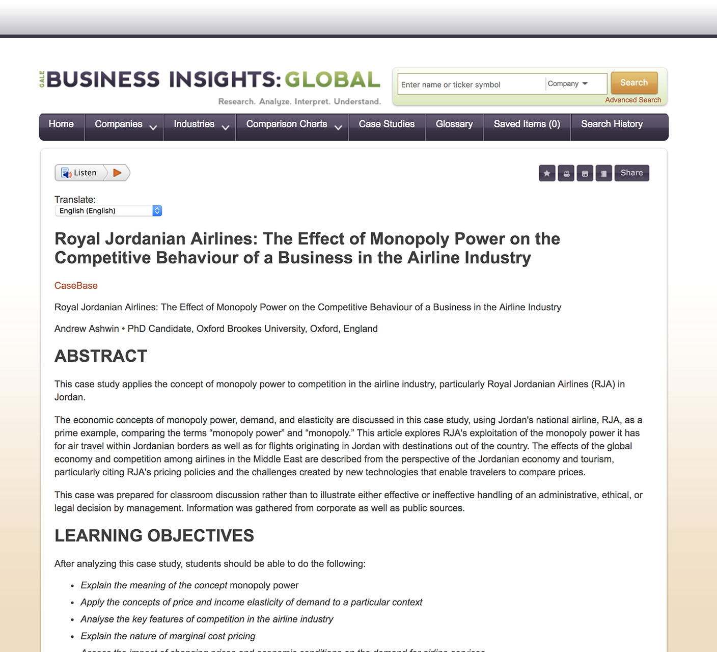 Business Insights Global Case Study