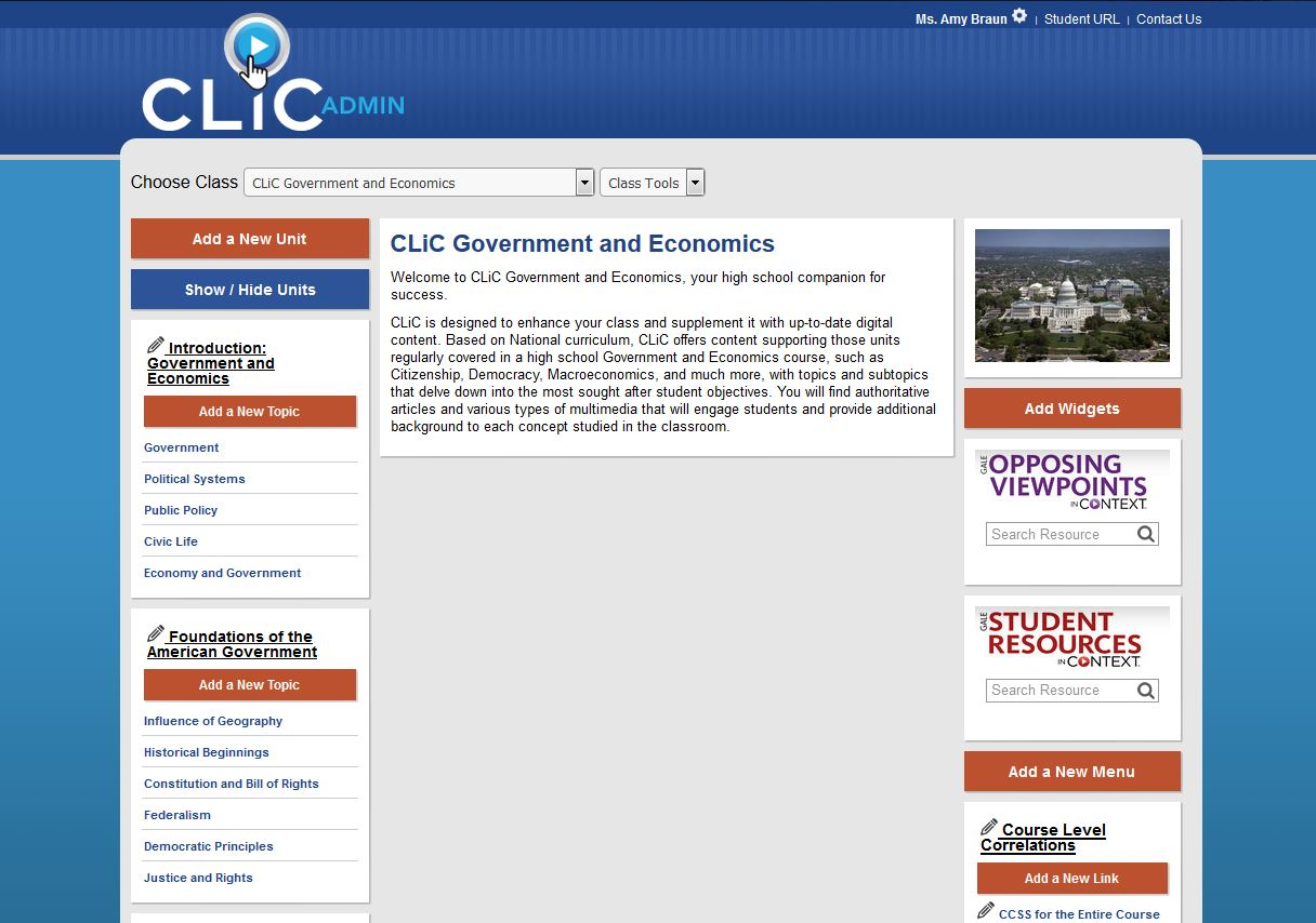 Based on National curriculum, CLiC offers content supporting those units regularly covered in a high school Government and Economics course and is designed to enhance and supplement your class with up-to-date content.