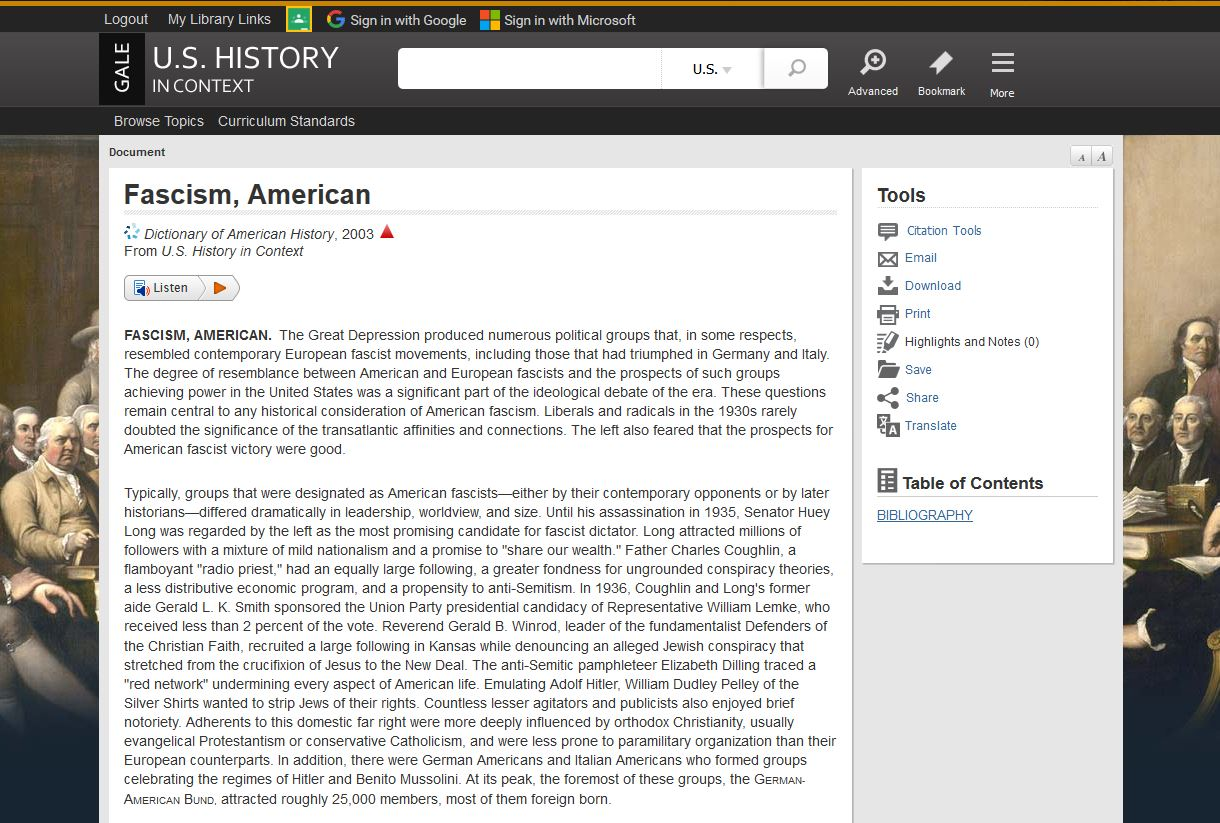 Powered by Gale's U.S. History In Context, access and use Tools, Table of Contents, and Related Subjects when researching.