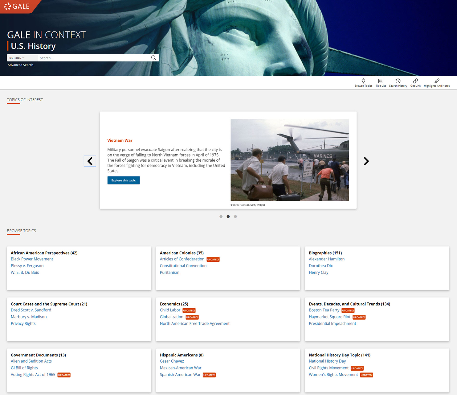 Gale In Context: U.S. History Homepage