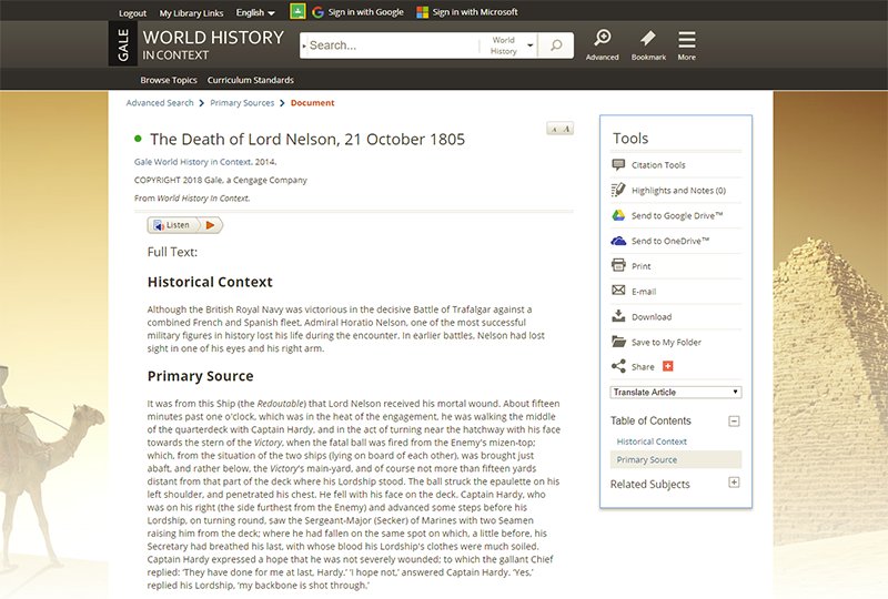World History in Context Primary Source