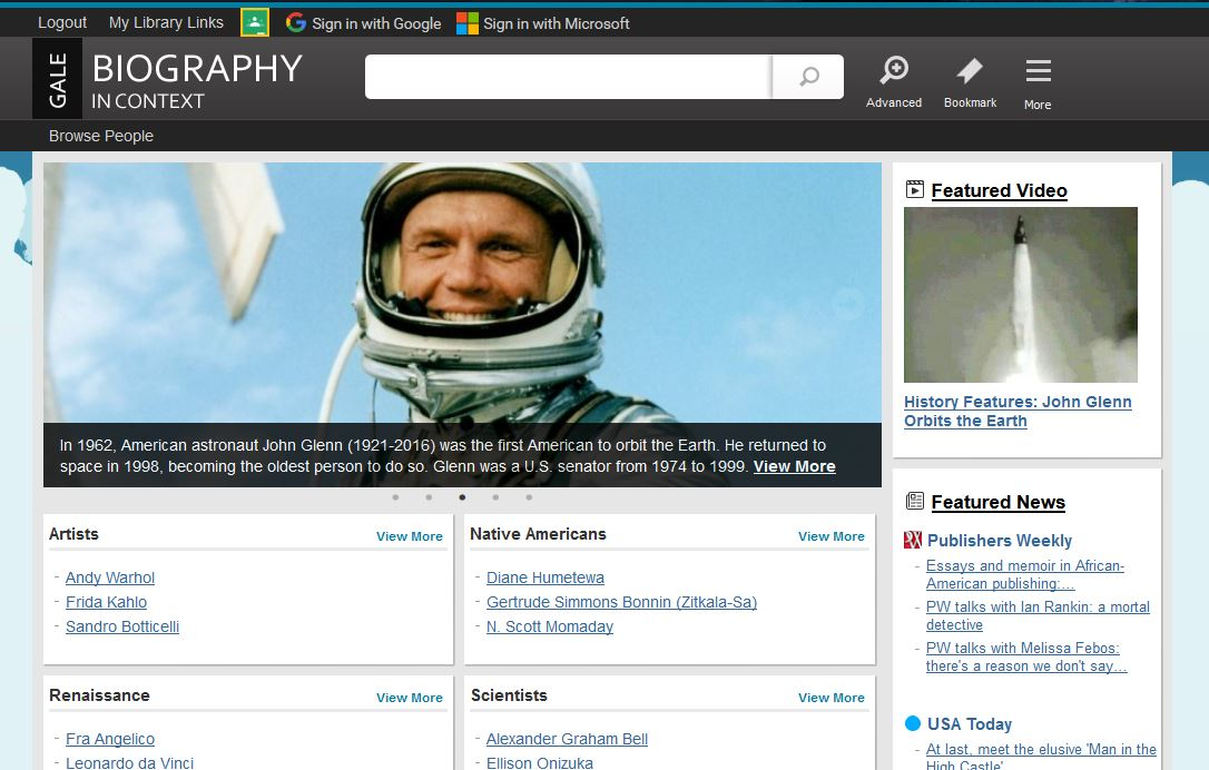 Biography In Context Home Page