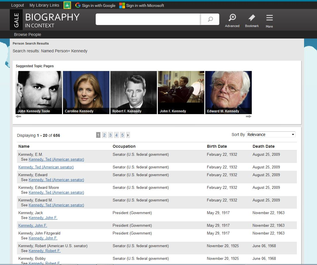 Person Search displays people results which include the name, occupation, birth and death dates.