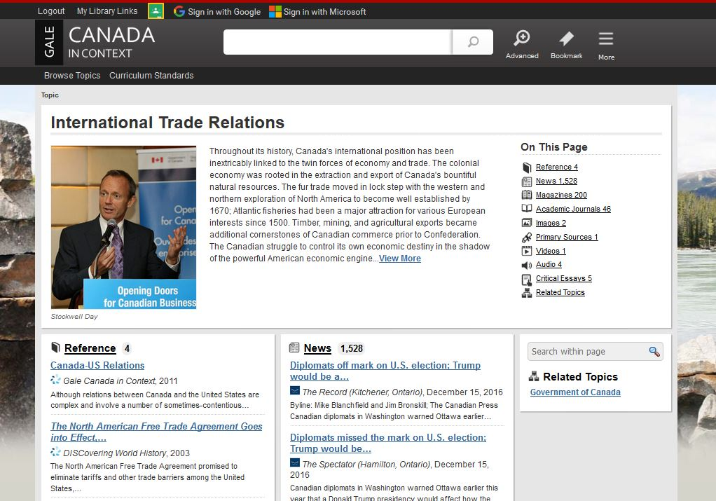 Canada In Context Topic Page