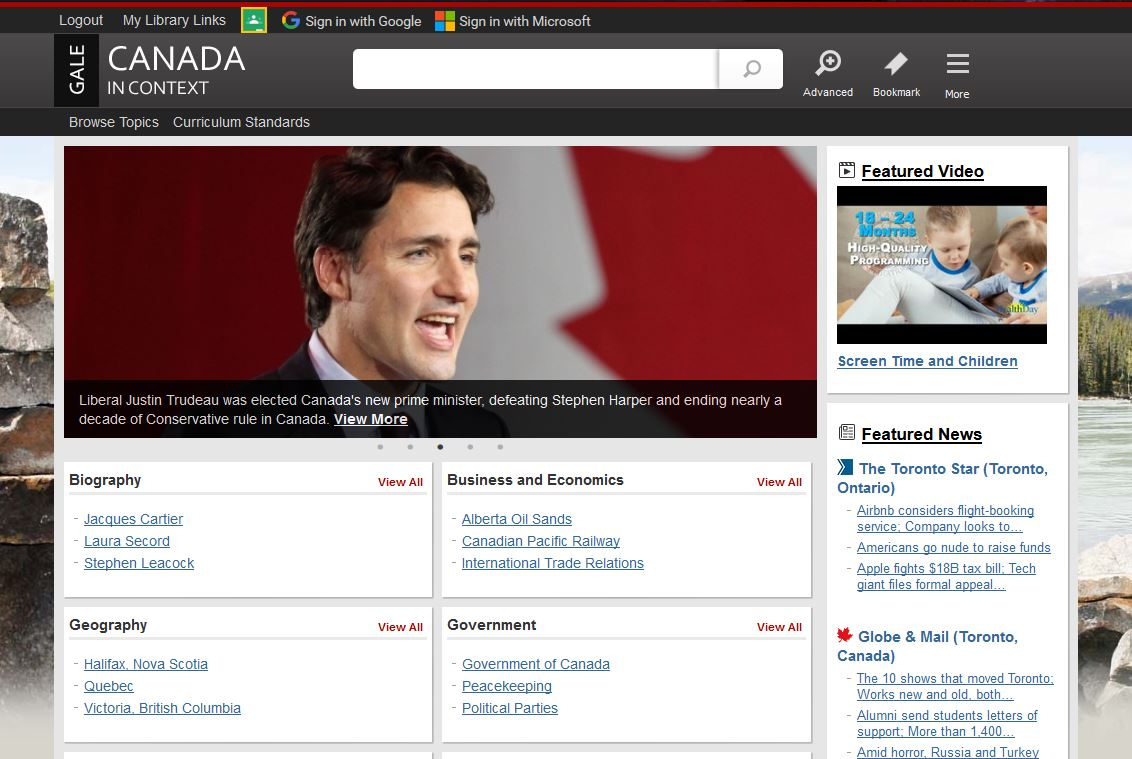 Gale In Context: Canada Home Page