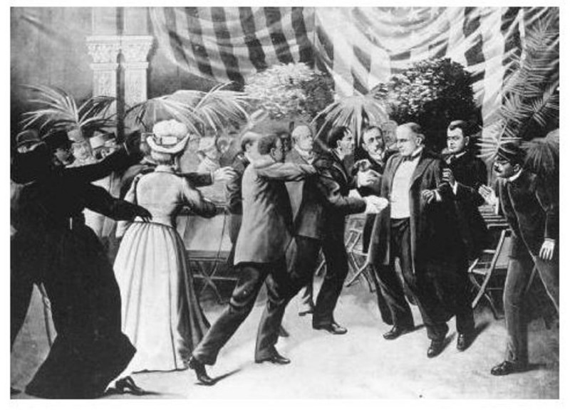Drawing depicting the assassination of President William McKinley by Leon Czolgosz