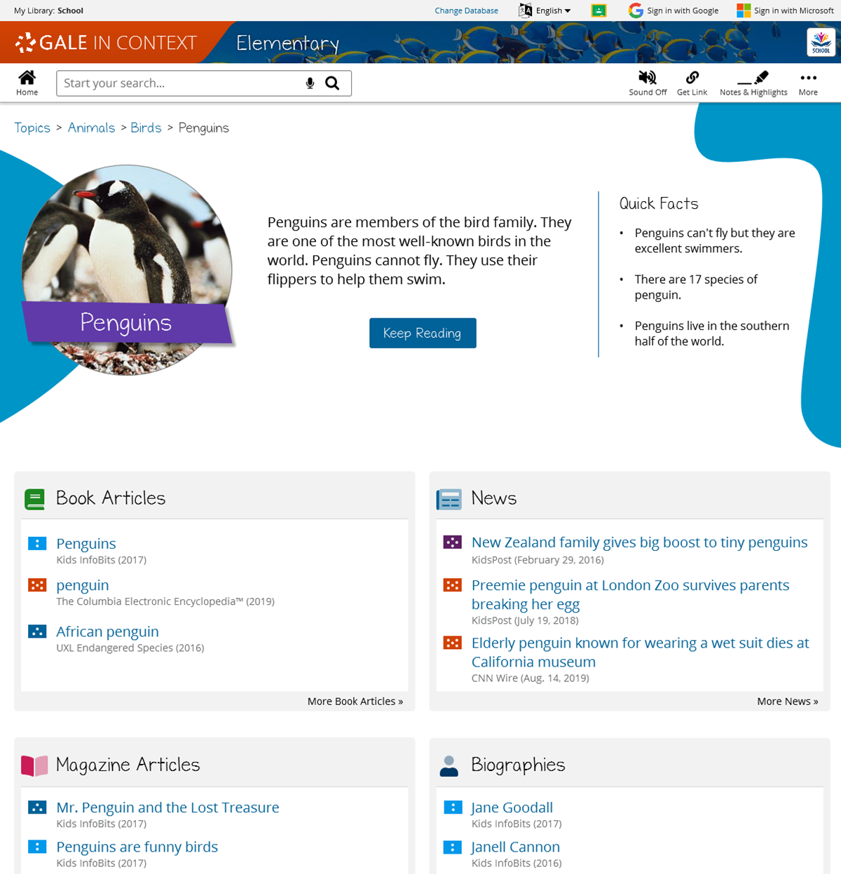 Topic pages (previously known as portals) give kids short, age-appropriate summaries of subject areas and organize reference materials for easy use in research projects.