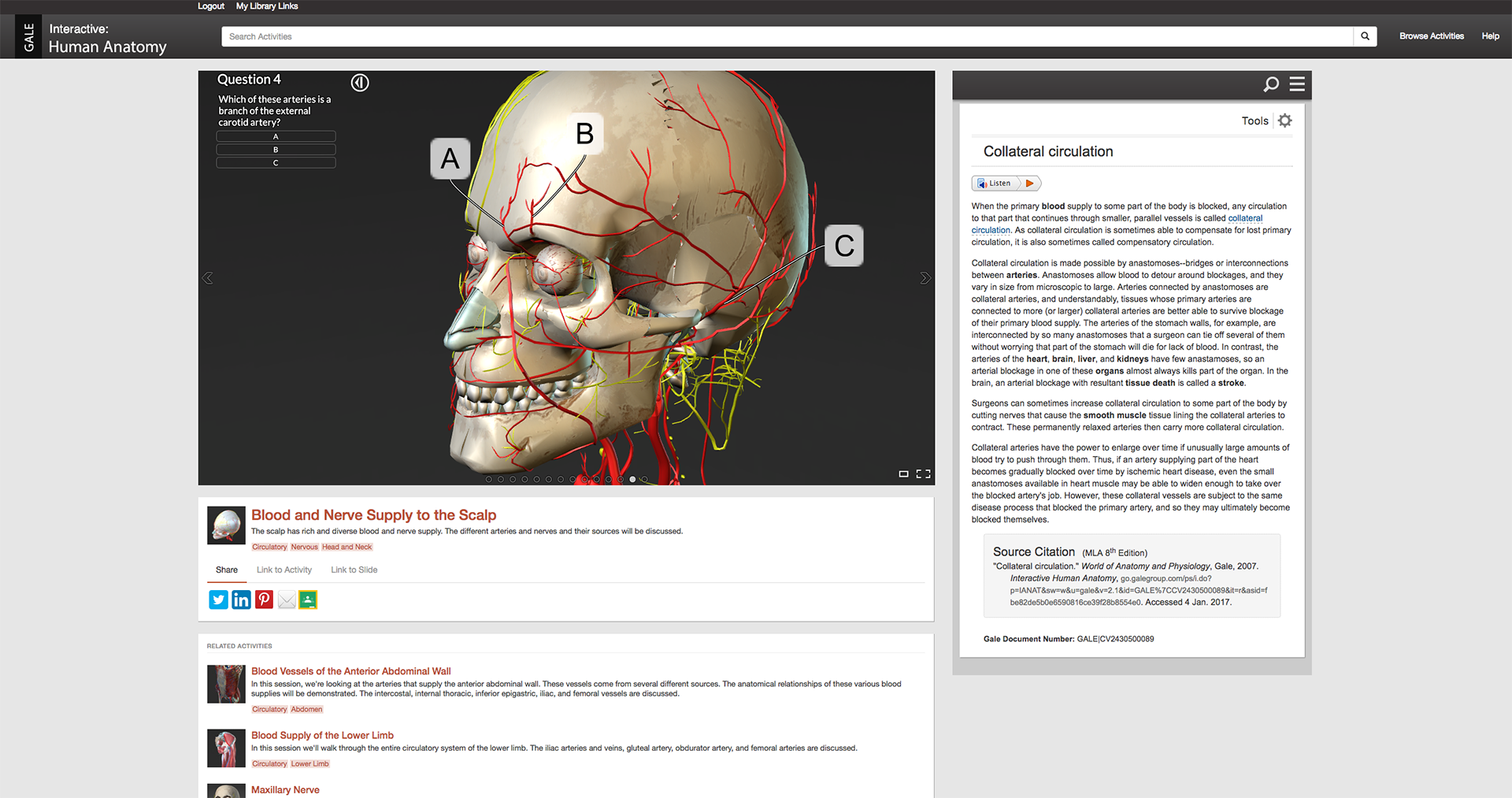 Self-assessment tool in Gale Interactive: Human Anatomy.