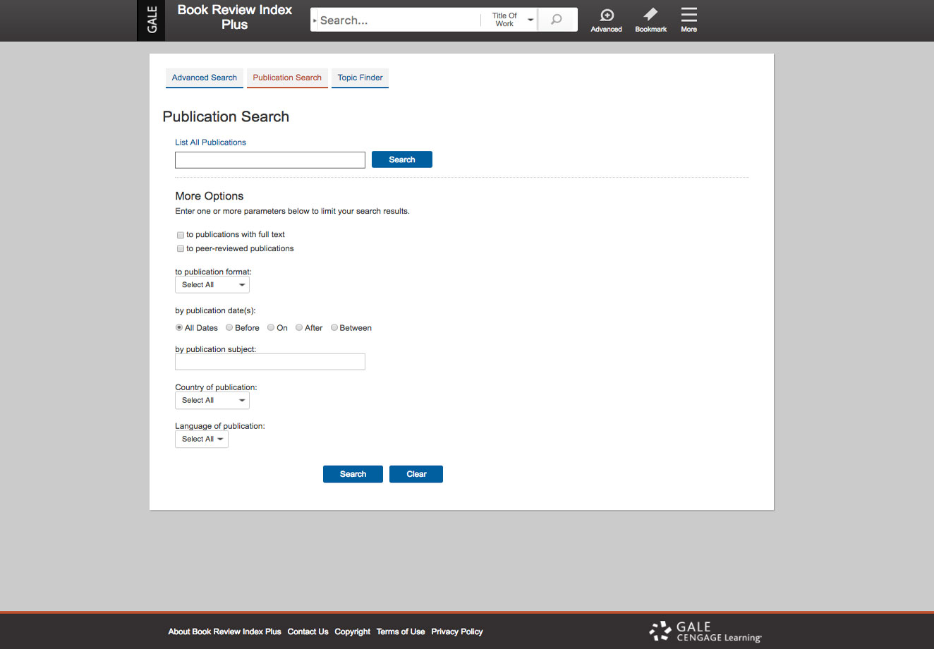 Publication Search screenshot.