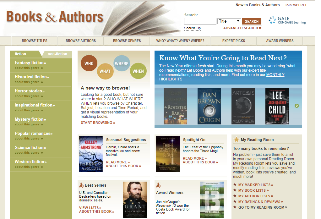 Books & Authors Home Page