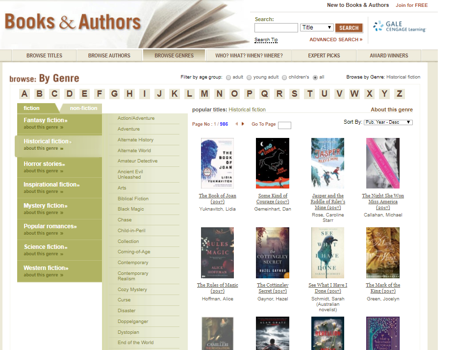 Books & Authors Browse Genres