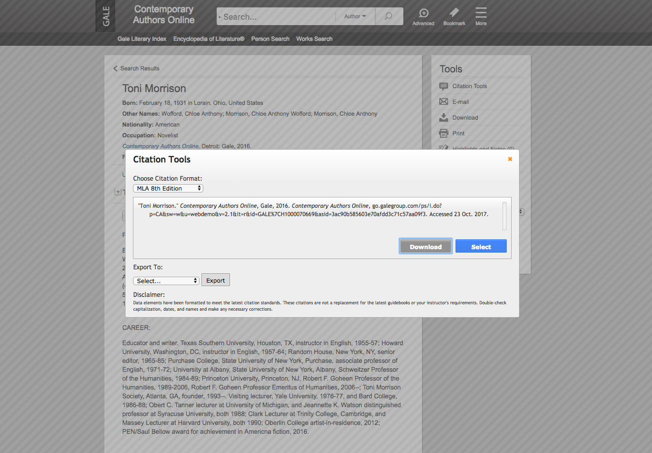 Citation tools screenshot.