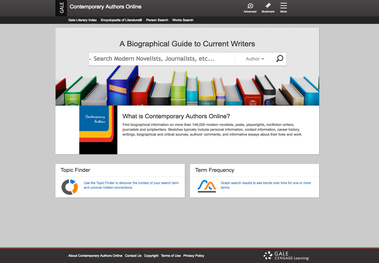 Contemporary Authors Online home page screenshot