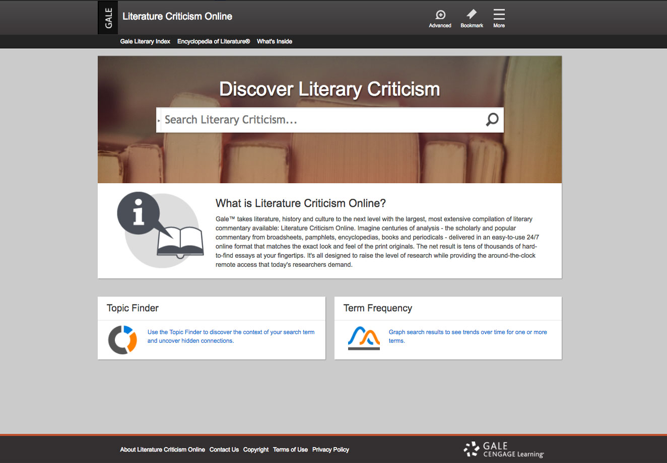 The Literature Criticism Online home page screenshot.