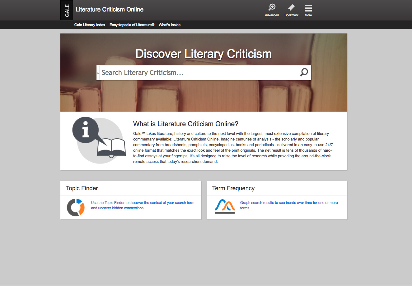 Literature Criticism Online Home Page screenshot