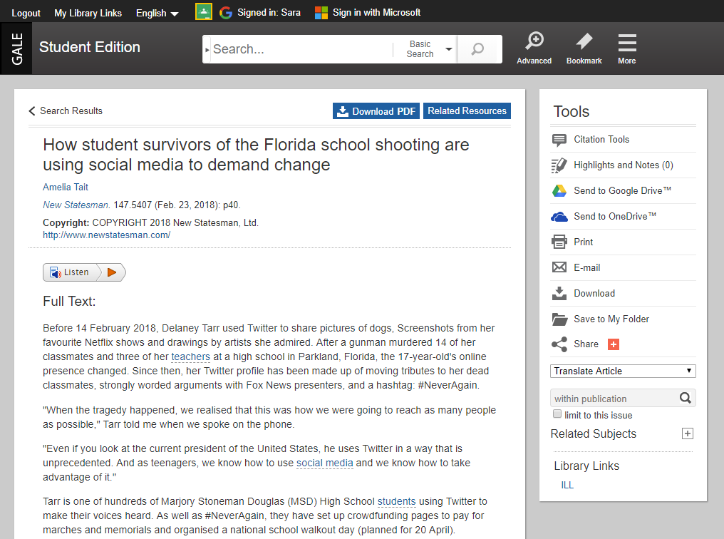 InfoTrac Student Edition article view