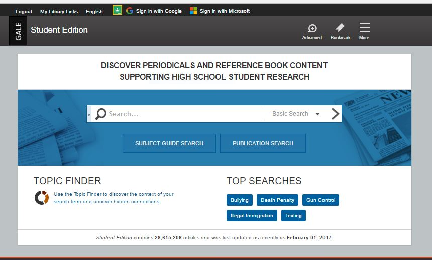InfoTrac Student Edition home page.