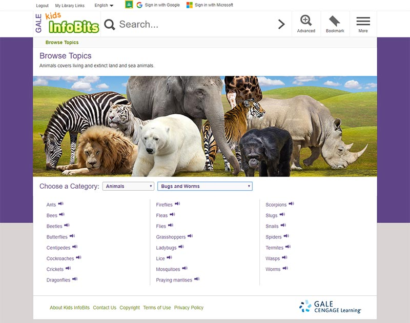 Kids InfoBits User Interface Browse Topics