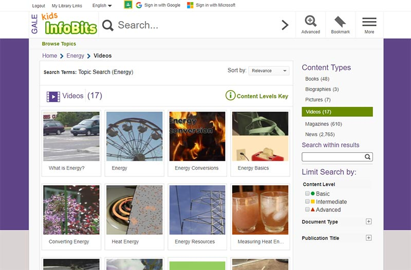 Kids InfoBits User Interface Limited Search Results