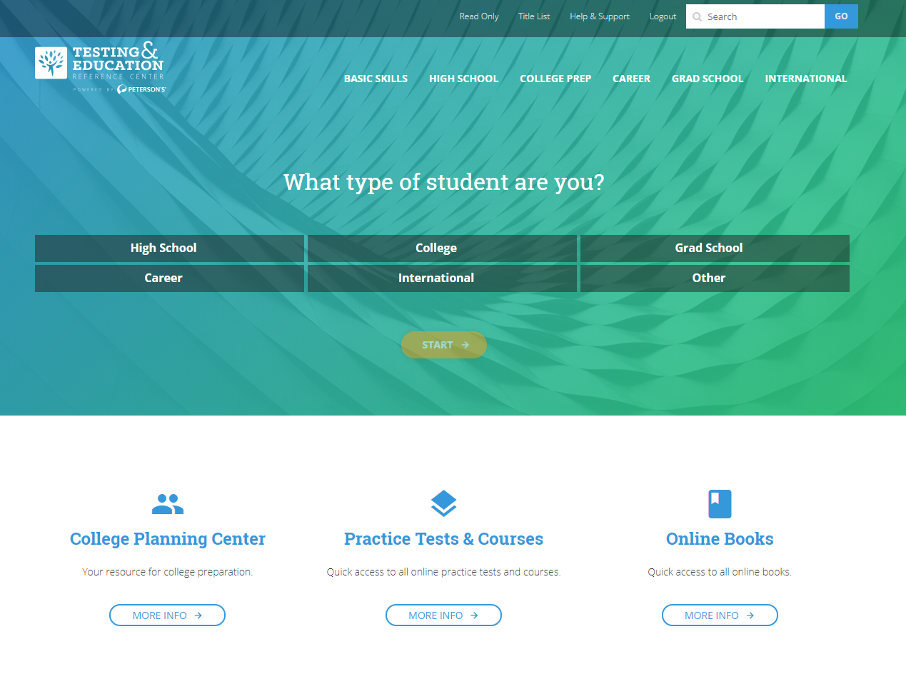Testing & Education Reference Center (TERC) provides test preparation for those in high school, college, grad school, planning careers, or new to the US.
