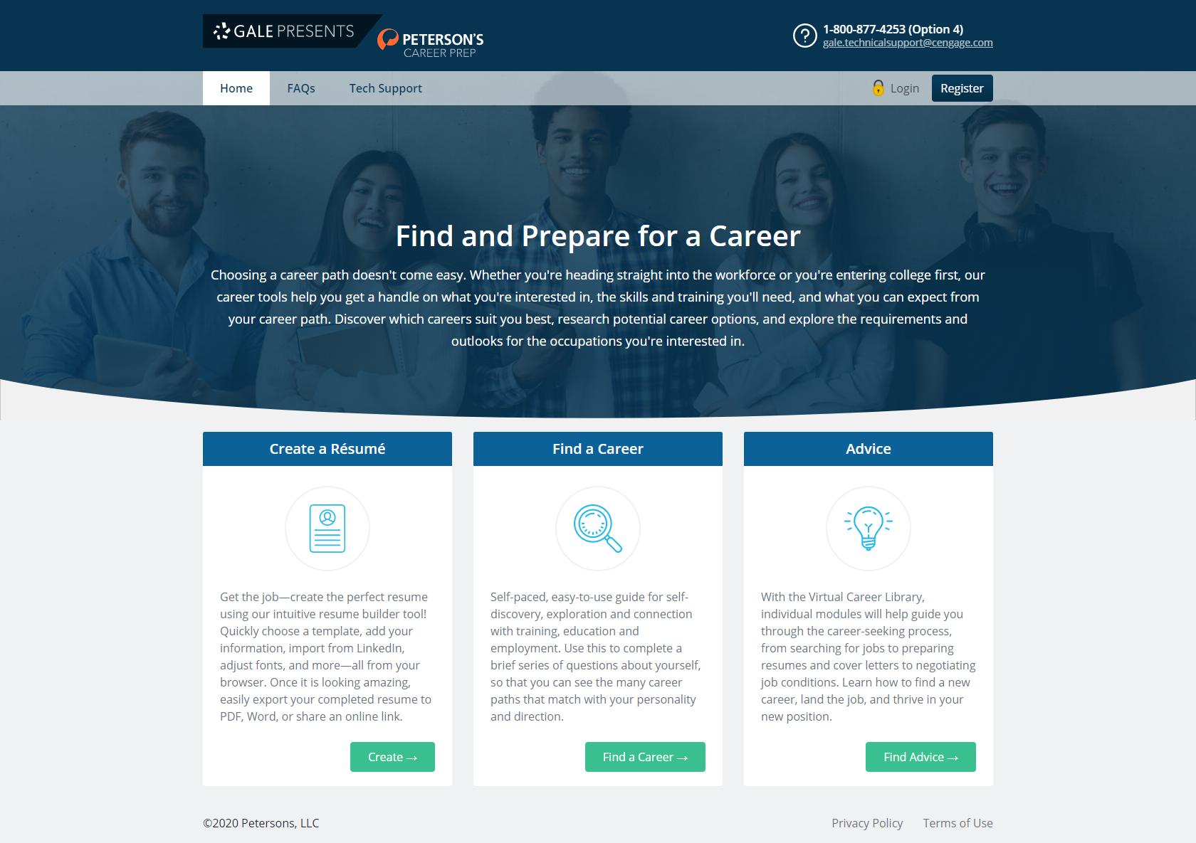 Gale Presents: Peterson's Career Prep is mobile accessible and features a simple homepage design.
