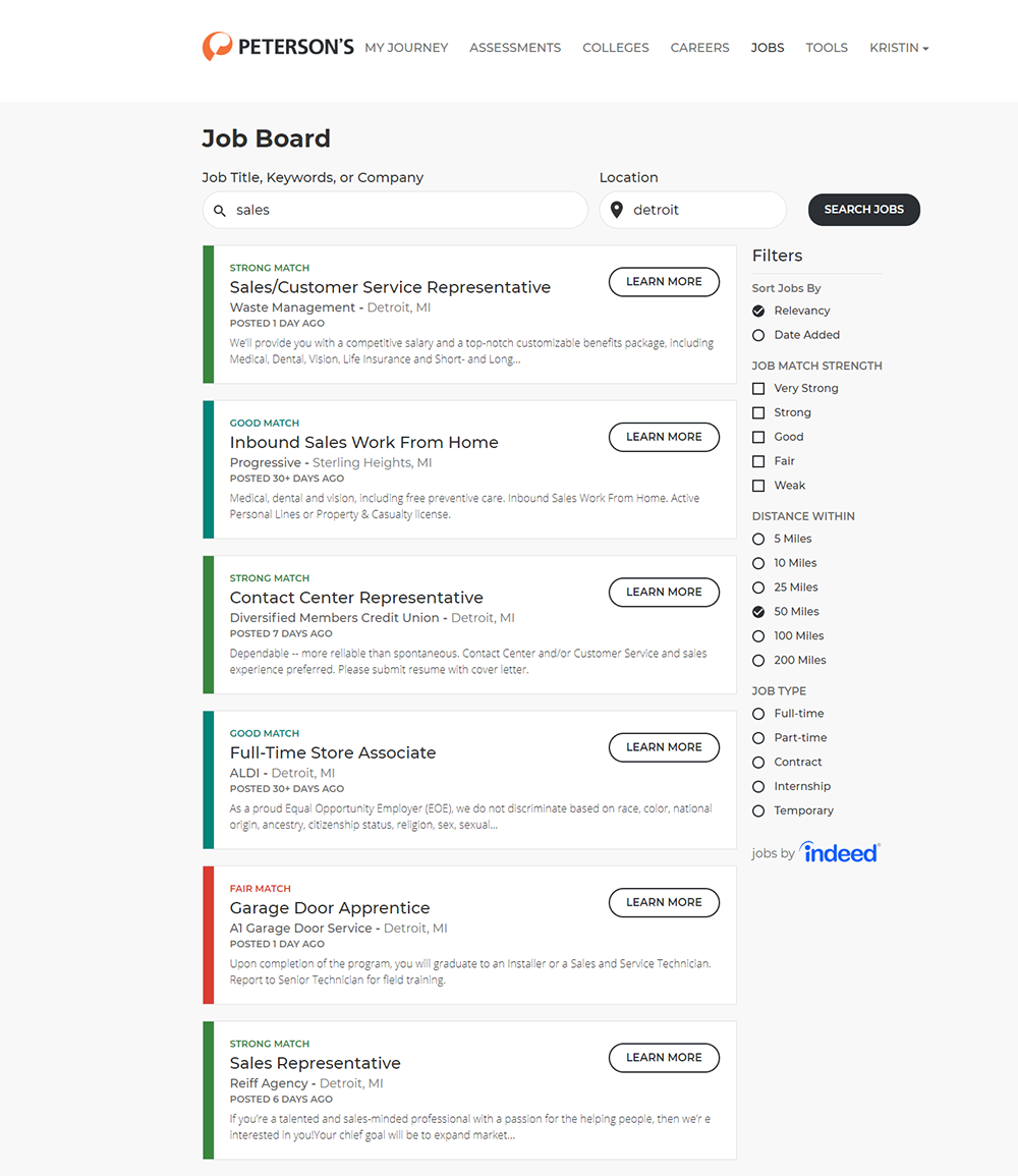 The job search tool is powered by Indeed.com. Job listings are sourced from Indeed and are updated daily. Users can limit results to employment type (e.g., internship, part-time, full-time).