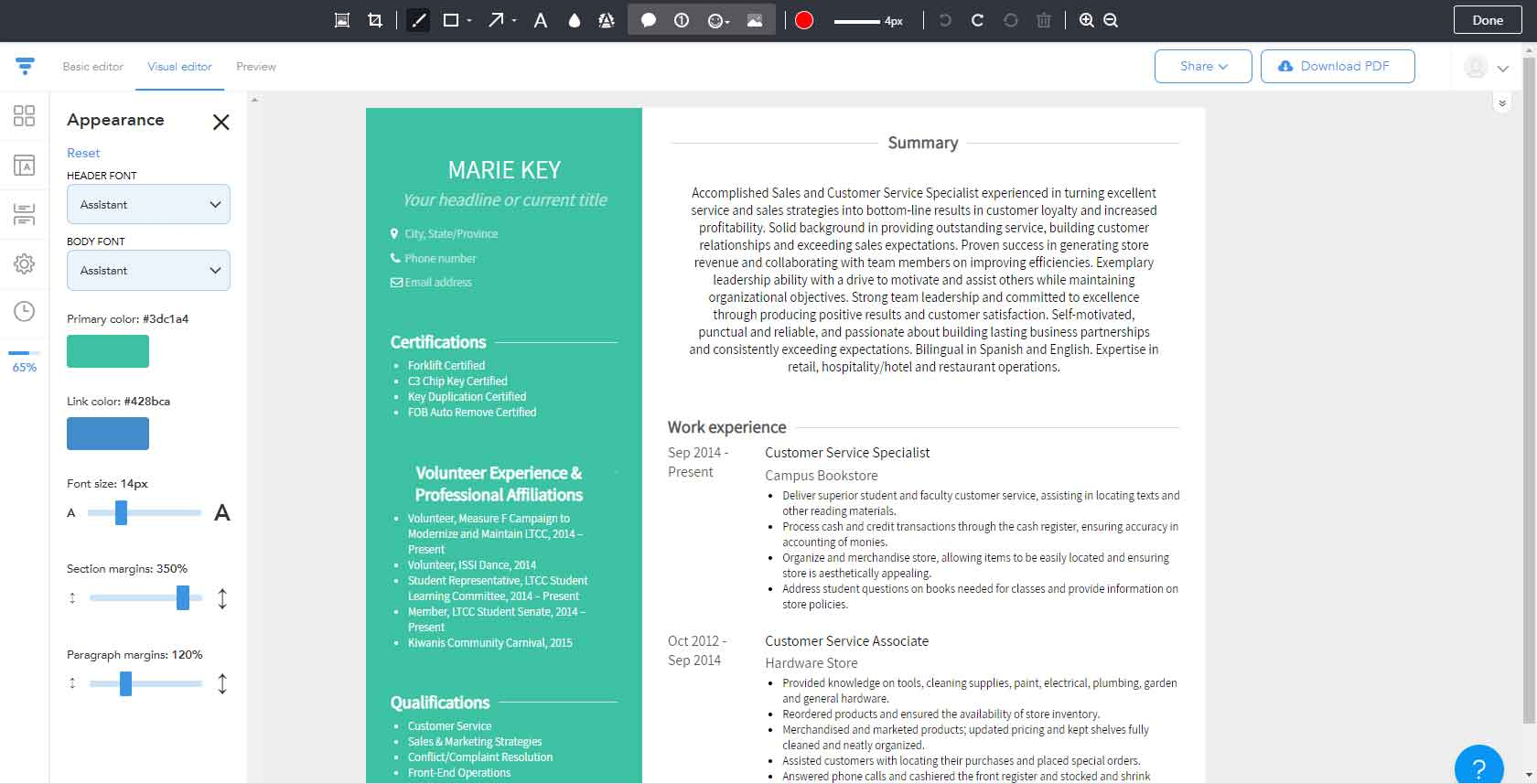 VisualCV Resume Creator allows users to create visually interesting résumés, cover letters, and websites that can be externally shared with prospective employers, using prebuilt templates. Sample résumés help users target their résumés for different job types.
