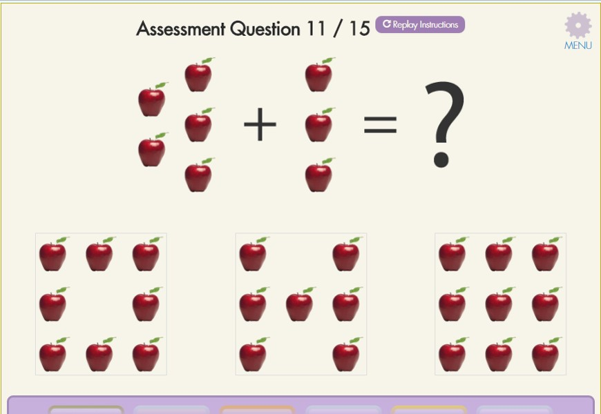 Children take 15-question assessments on a regular basis to measure growth.