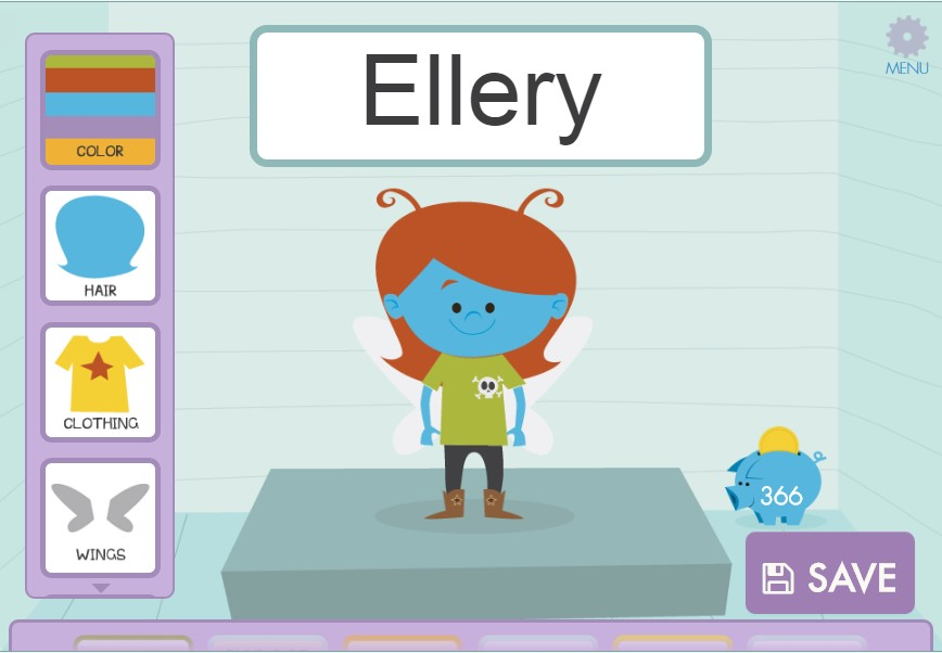 Each child can select the gender, skin color, hair style and color, and clothing of their own avatar.