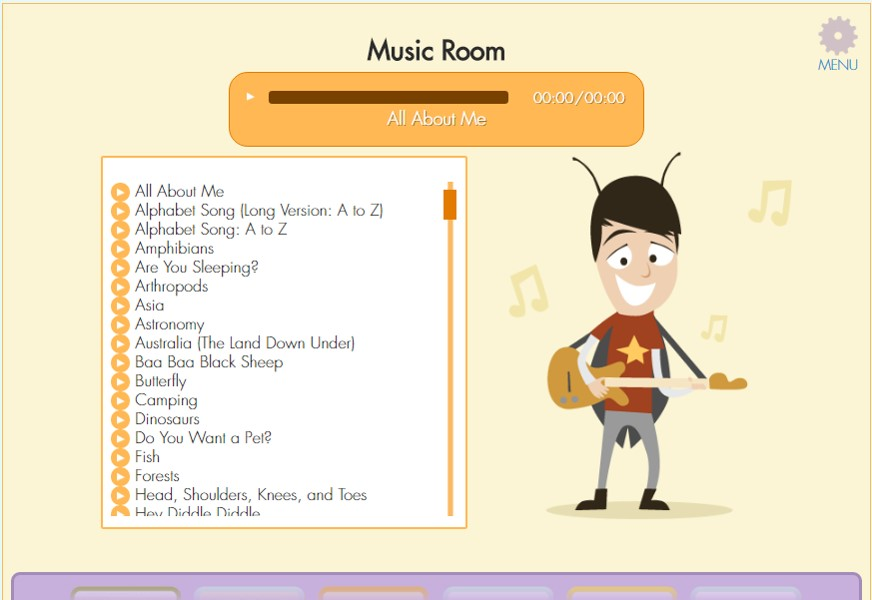 Songs from lessons can also be played in the Music Room.