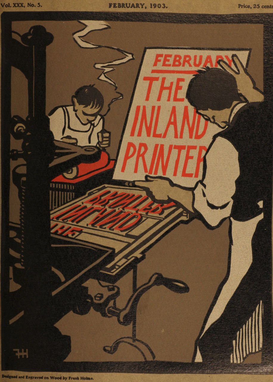 The February 1903 cover of the magazine The Inland Printer