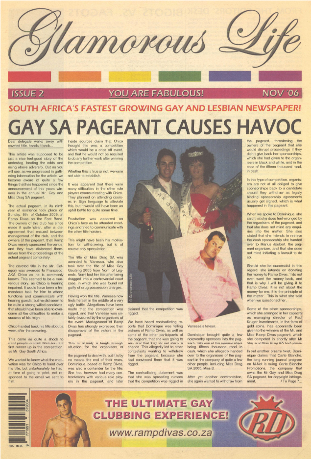 Front cover of the periodical Glamorous Life (November 2006) from Gay and Lesbian Memory in Action, South Africa